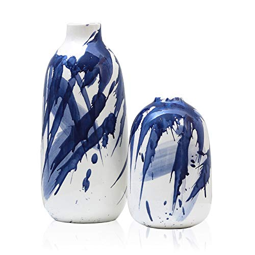 TERESA'S COLLECTIONS Set of 2 Indigo Pattern Flower Vases, Blue and White Ceramic Decorative Vases with Aquarelle for Kitchen,Office,Wedding or Living Room