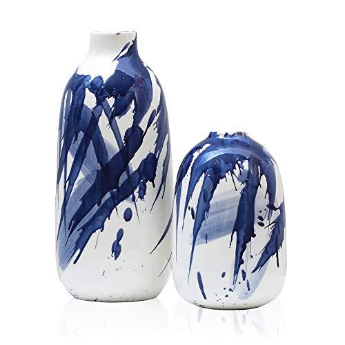 Teresa Collections - Set di 2 vasi decorativi in ceramica blu e bianco con acquarelle per centrotavola, cucina, ufficio, matrimonio o soggiorno