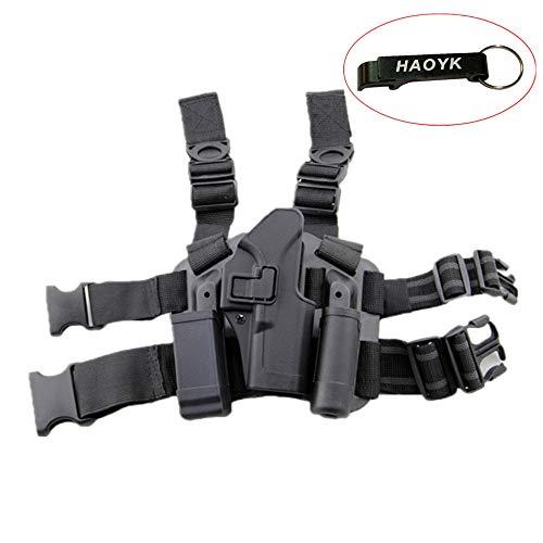 haoYK Sac de Holster Tactique Airsoft Pistolet Tactique Holster Cuisse Droite avec Magazine Pochette pour Glock 17 19 22 23 31 32 (Noir)