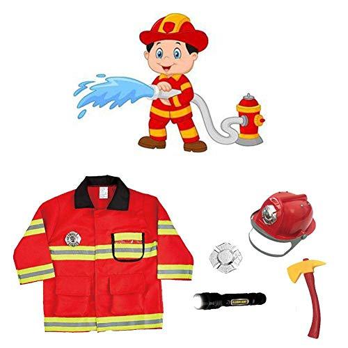 HNLSKJ Disfraz de bombero para nios, disfraz de bombero para nios, disfraz de bombero de juguete para nios