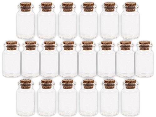 Alsino GF-02 Glazen flesjes met kurk voor bruiloft, 100 stuks, lege mini-glazen flesjes, drankflessen, zandflesjes, let op de afmetingen precies