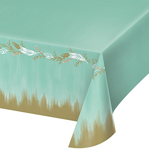 Creative Converting Mint To Be All Over Print, 54 x 102-Inches, Plastic Tablecover