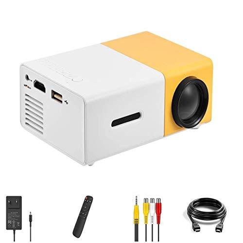 Mini Projektor Full HD 1080P LED Beamer Heimkino Projektor Innen&Draussen Video Projektor Taschenprojektor für Party und Camping Kompatibel mit Laptop/PC/Smartphone/HDMI/VGA/USB/AV(Weiß + Gelb)