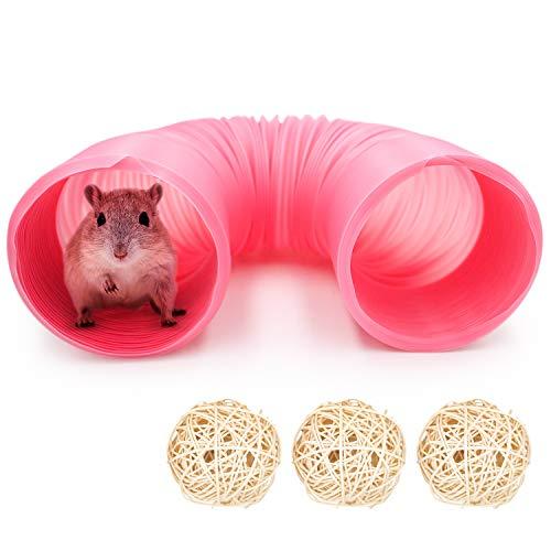 Kleintier Tunnel, Haustier Spieltunnel Röhren, zusammenklappbares Tunnel-Spielzeug für Hamster Chinchillas kaninchen Mäuse und Ratten nager tunnel Käfig Zubehör Dekor für Kleintierbehausungen (10cm)