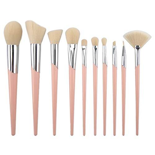 10 Pièce Maquillage Brosse Ensemble Poignée en Plastique Tube Incliné Maquillage Brosse Maquillage Brosse Beauté Maquillage Outil,White