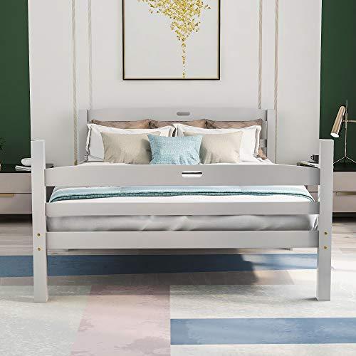 Harper Bright Designs Holzbett Massivholzbett Bett Doppelbett mit Lattenrost Bettgestell,Kopfteil mit Griff,für Kinder, Jugendliche und Erwachsene,Weiß (200x140cm)