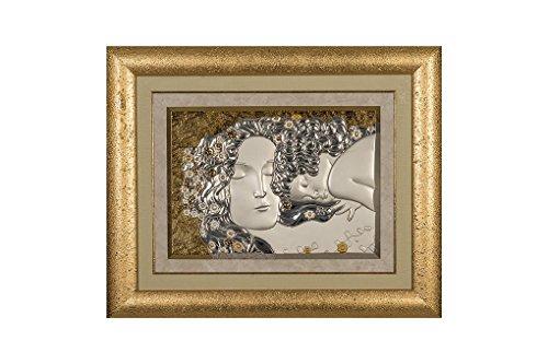 CVC- Quadro da Parete, Cornice Dorata. Riproduzione maternità di Klimt, in bilaminato Argento. Dimensione 59x73 cm. Made in Italy.