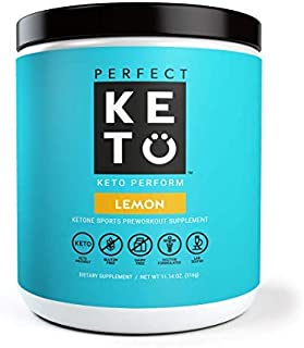 Perfect Keto Perform Preworkout Supplement: Pre Workout Powder for Ketosis & Ketogenic Diet | BHB Ketone Salts for Men & Women. BCAA, Nitric Oxide & MCT to Burn Fat for Fuel. Sport Gym Workout Drink