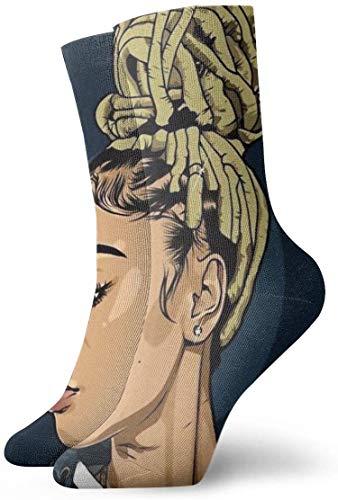 Neuheit Lustige Verrückte Crew Socke Schwarze Kunst Afroamerikaner Frauen Nudeln Haar Gedruckt Sport Sportliche Socken 30 Cm Lange Personalisierte Geschenk Socken