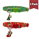 BINGPET Christmas Cat Collar Breakaway with Bell and Charm, Safety Adjustable Kitten Collars 2 Pack
