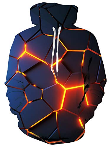 Freshhoodies Herren Hoodie 3D Lava Grafik Lustig Coole Schrecklich Drawstring Hooded Sweatshirt Pullover M