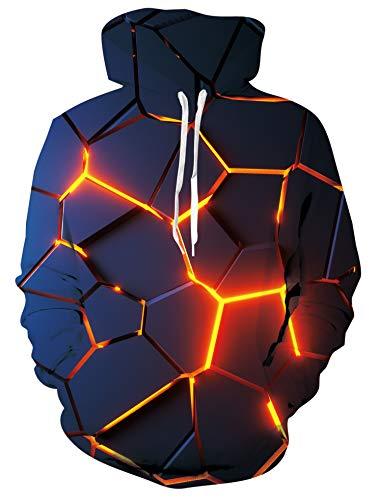 Freshhoodies 3D Pullover Hoodie Herren Damen Lava Graphic Langarm Kapuzenpullover mit Tunnelzug Hoody XXL