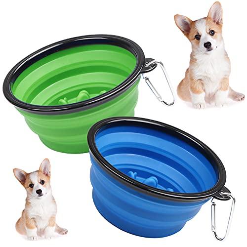 Hundenapf, Faltbare Reiseschale, Auslaufsicher Trinknapf, Reisenapf Hund, Auslaufsichere Hundenäpfe, mit Karabiner, Wassernapf für Hunde und Futternapf Hund (2 pcs)