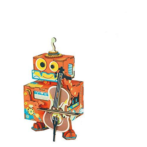 TTXLY 3D Puzzle de Madera de los Estados Unidos Comprador Super Deal Robotime Caja de música casa decoración giratoria DIY Robot de Madera de manivela de Mano de Regalo para niño niños