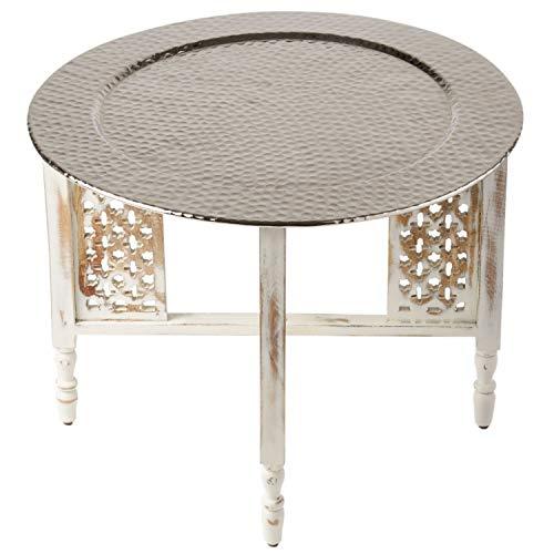 Marokkaanse ronde tafel salontafel Hania ø 60 cm rond | Oosterse woonkamertafel met inklapbaar vintage houten frame in wit | Het dienblad Deze klaptafel is gemaakt van metaal in zilver