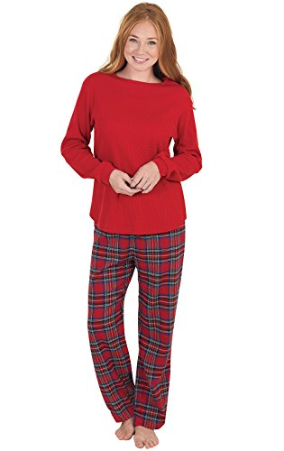 PajamaGram Petite Womens Pajamas Plaid - Petite Pajamas for Women, Red, M, 8-10