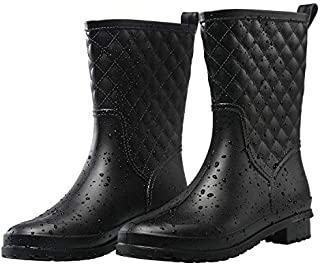 Petrass Women Rain Boots Black Waterproof Mid Calf Lightweight Cute Booties Fashion Out Work Comfortable Garden Shoes
