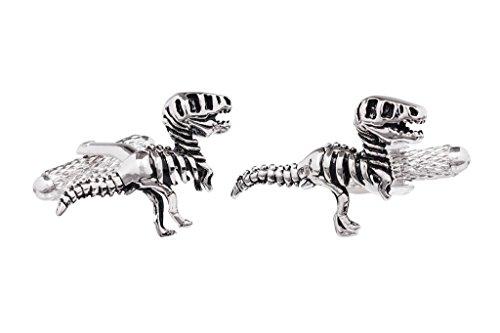 Paire de Art bouton de manchette Onyx - dinosaure (T-Rex squelette) de don Box CK877