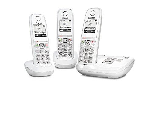 Gigaset AS470A Trio - Teléfono (Teléfono DECT, Terminal inalámbrico, Altavoz, 100 entradas, Identificador de llamadas, Blanco) [Versión importada: Podría presentar problemas de compatibilidad]