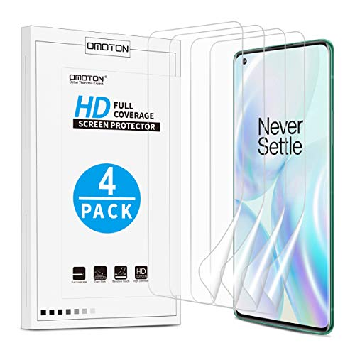 OMOTON [4 Pack] Screen Protector for OnePlus 8 Pro - Ultra Clear, High Definition TPU Protective Film for OnePlus 8 Pro 2020 Released [6.78 Inch]