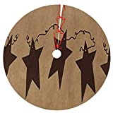 HDDCOMG Vintage Rusty Stars Primitive Country Rustic Christmas Tree Skirt Mat for Xmas Decoration Holiday Ornaments Xmas Holiday Decoration 36'