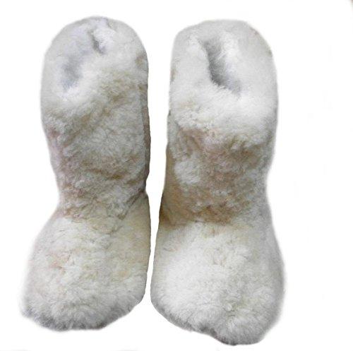 Alpacaandmore Weiß braune Unisex Alpaka Fellschuhe Hausschuhe Fellstiefel Alpaka Fell (39)
