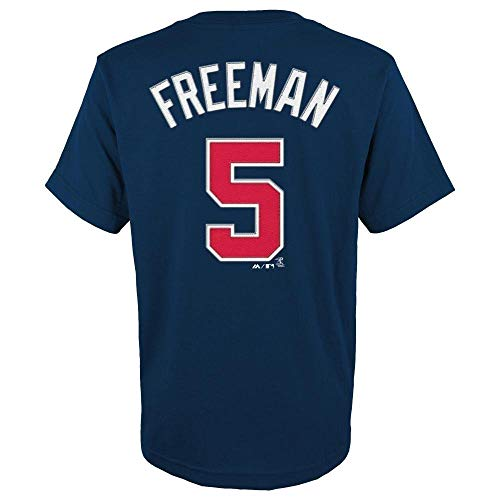 Freddie Freeman Atlanta Braves MLB Majestic Youth Boys Youth 8-20 Navy Official Player Name & Number T-Shirt (Youth Large 14-16)