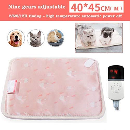 QIANC verwarmingsmat voor huisdieren, elektrisch, 9 temperatuurniveaus, instelbaar van 20 tot 50 graden Celsius, met thermostaat