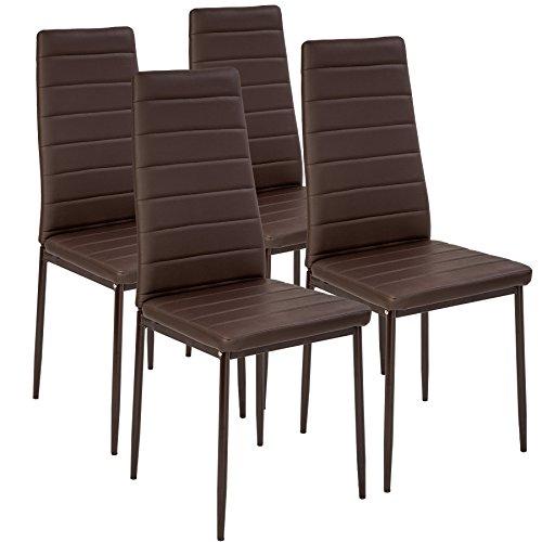 TecTake Set de sillas de Comedor 41x45x98,5cm cantidades - (4X Marrón | No. 401844)