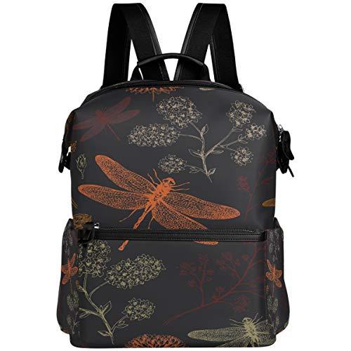 Oarencol Vintage Flower Dragonfly Sprint Mochila escolar Libro Bolsa Viajes Senderismo Camping Laptop Daypack