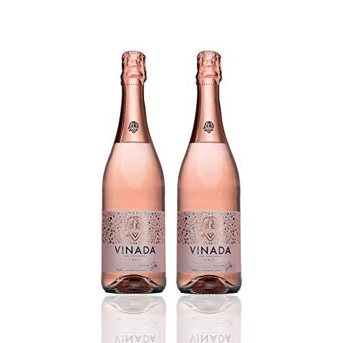 VINADA Sparkling Rosé alkoholfreier Wein – 2x 750ml - prickelnder Schaumwein mit 0% Alkohol, Premium Sekt alkoholfrei mit Trauben aus Spanien, Frizzante Perlwein als alkoholfreies Getränk