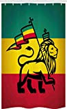 ABAKUHAUS Rasta Schmaler Duschvorhang, Judah Löwe Rastafari Flagge, Badezimmer Deko Set aus Stoff mit Haken, 120 x 180 cm, Gelb Schwarz Grün & Rot