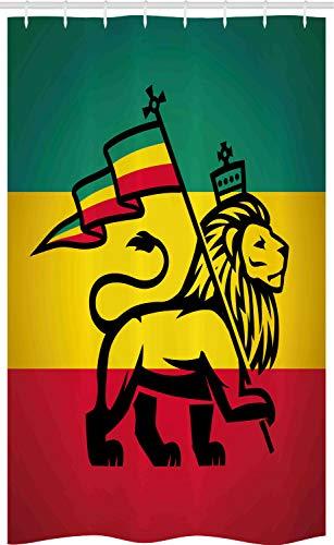 ABAKUHAUS Rasta Cortina para baño, Judá Bandera de Rastafari León, Tela con Estampa Digital Apta Lavadora Incluye Ganchos, 120 x 180 cm, Negro Amarillo