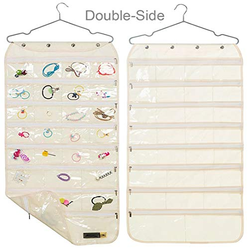 Earring Organizer with Zipper DualSided 56Pocket Hanging Jewelry Storage Display Necklace Earring Ring Pouch Pocket Accessories Organizer Closet Wall Holder Transparent Hanger Included Beige