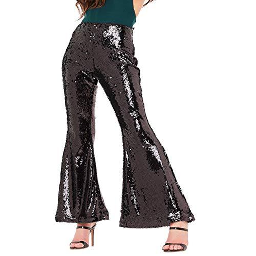Frashing Damen Lange Hose mit Pailletten Weite Hose Mode Clubwear Freizeithose High Waist Hose Lange Stretch Workout Hosen Lässige Hosen