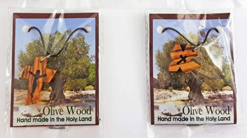 Kreuzketten 2 Stück Holzkreuz Anhänger an Kette in Universalgröße Olivenholz Kreuz Taube Kreuzanhänger Kommunionketten