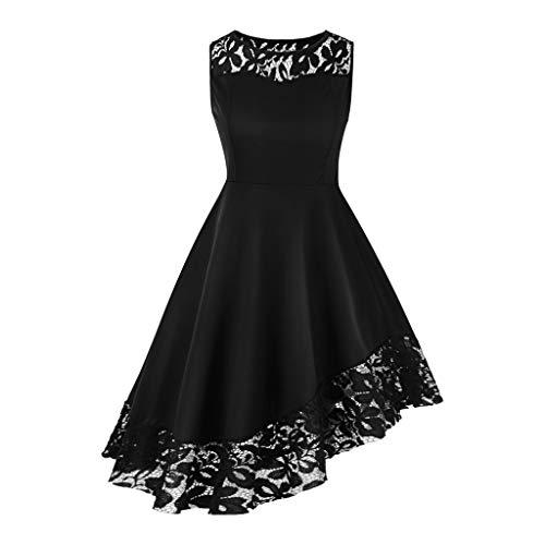 Lazzboy Asymmetrische Oansatz ärmelloses Kleid 1950er Rockabilly Kleider Damen Retro Spitzenkleid Cocktailkleid Abendkleid(Schwarz,XL)