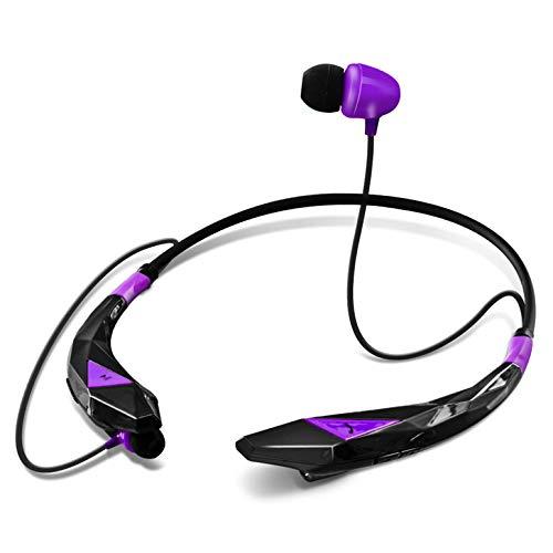 Aduro Amplify Pro SBN45 Wireless Stereo Bluetooth Around The Neck Earbud Headphone Headset (Black/Purple)