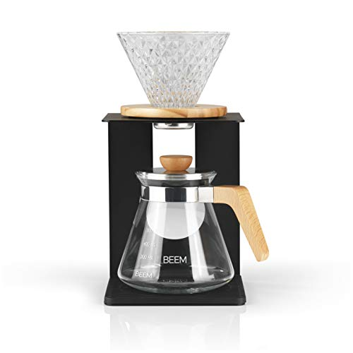 BEEM Pour Over Kaffeebereiter Set - 4 Tassen | Classic Selection | 4-teilig | Glas-Handfilter in Diamantoptik | Größe 2 | 0,5 l Glaskanne inkl. Deckel | Silikonunterlage