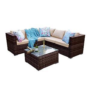 Yakoe Classical 5 Seater Brown Corner Rattan Sofa Set