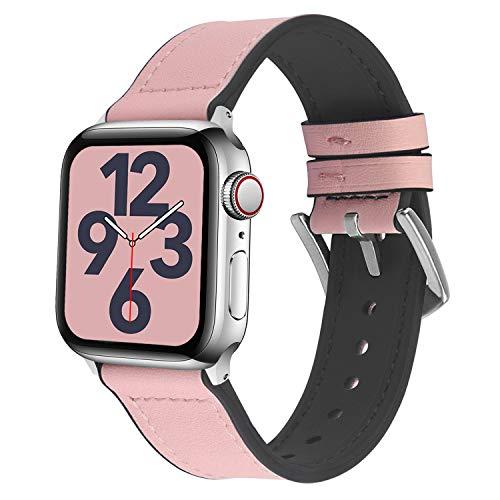 Fullmosa 【2020 Nuevo】 Correa Apple Watch Vintage, Correa iWATCH de Silicona Meex con Cuero, Compatible con iWatch SE, Apple Watch Serie 6/5/4/3/2/1 Rosa, 40 mm