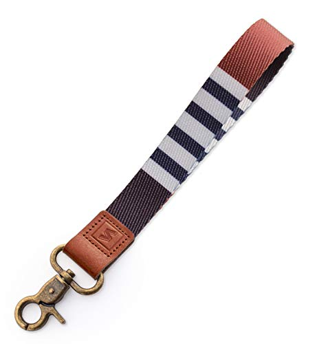 SENLLY Schlüsselband Wristlet Keychain Lanyard Strap Handschlaufe Schlüsselanhänger mit Metallverschluss und echtem Leder für Schlüssel, Mobile Handys Telefon, Kamera, Charms (Classic Stripes)