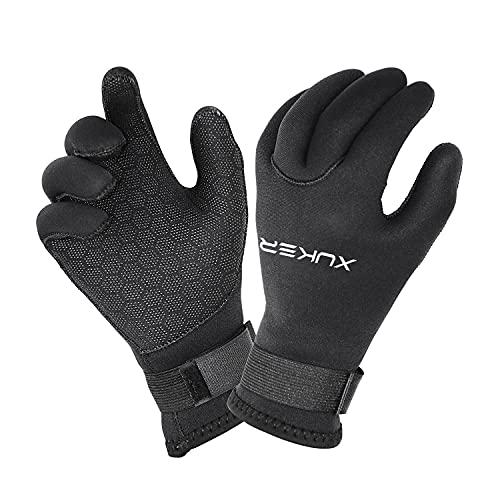 XUKER Water Gloves, 3mm & 5mm Neoprene Five Finger Warm Wetsuit Winter Gloves...