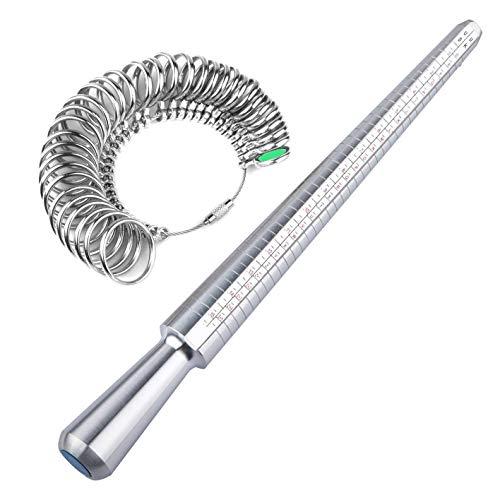 Afufu Ring Sizer UK Meetweegschalen Gereedschap voor het meten van ringen diameters Vinger Sizing Tools UK maten A-Z Metaal