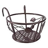 Hemoton Soporte para macetas colgantes de barandilla, soportes de hierro para plantas, vallas, de metal, para balcón, cestas redondas, caja de contenedores de bronce
