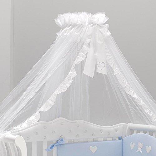 Himmel für Babybetten mit Halterung Soffio weiß von Azzurra Design mit Rüschen | Betthimmel