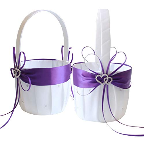 Awtlife 2PCS Purple Flower Girl Basket Double Heart Rhinestone Elegant For Wedding Ceremony Party Favor