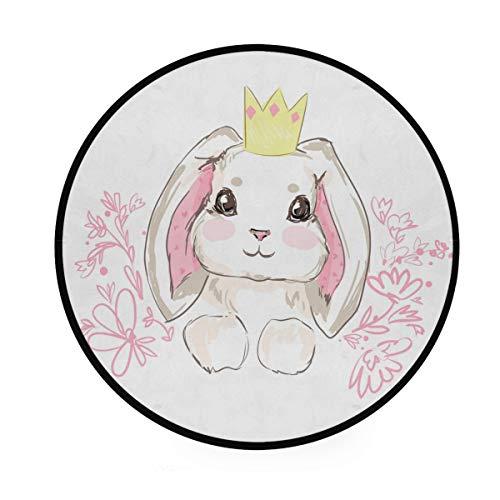 Mr.Lucien Alfombra redonda con diseño de conejo, princesa, flores rosas, suave y redonda, para colocar en la parte delantera de la ducha, bañera, lavabo, inodoro, 91,9 cm 2020021
