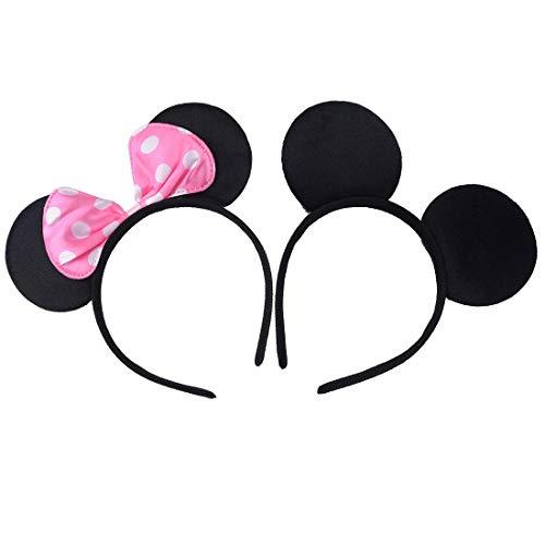 2 pezzi Nero Rosa Fasce per capelli compleanno Feste di Halloween Mamma Ragazzi Ragazze Accessori per capelli Belle orecchie da topo copricapo Decoraz