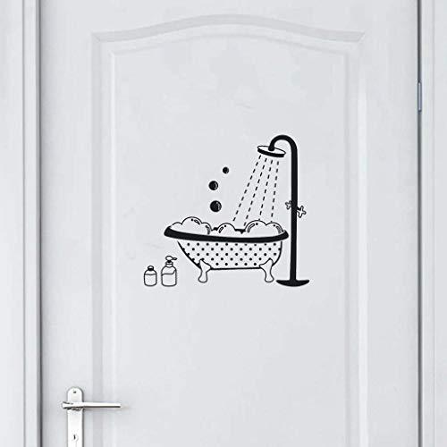 Bearbelly - Autocollant Mural Stickers Muraux pour Toilette/salle de bain/Baignoire Porte douche PVC DIY porte autocollant à l'eau Décoration